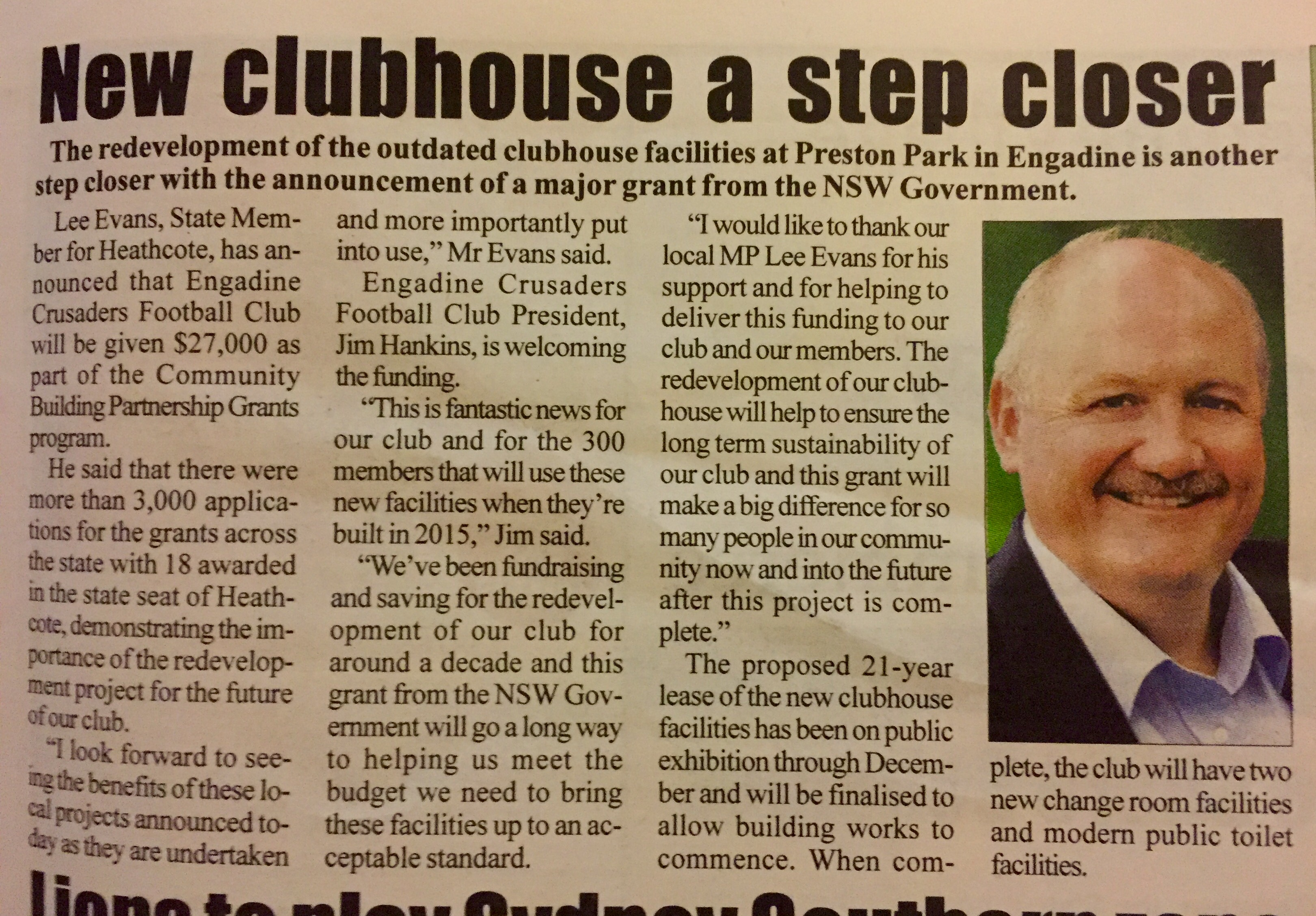 Pictorial News - New clubhouse a step closer 150119